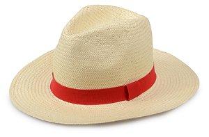 Chapéu Panamá Sintético Bege Faixa Vermelha