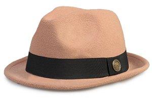 Chapéu Fedora Bege Aba Curta Curva 4cm