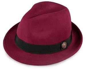 Chapéu Fedora Vinho Aba Curta Curva 4cm