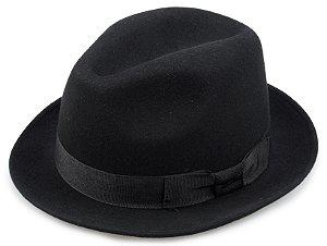 Chapéu Fedora Preto 100% Lã Aba 5cm Premium Hats
