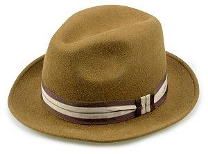 Chapéu Fedora Caramelo 100% Lã Aba 5cm Premium Hats