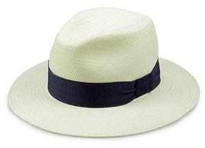 Chapéu Fedora Palha Creme Faixa Azul Aba 7cm Proteção UV