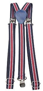 Suspensório Unissex Listrado Vermelho, Azul e Branco  2,0 cm