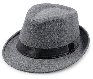 Chapéu Fedora Cinza Aba 5cm
