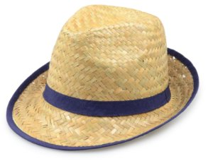 Chapéu Fedora Palha Bege com Debrum Azul