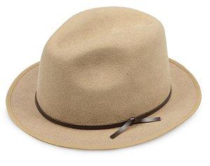 Chapéu Fedora Camel 100% Lã Aba 4cm Couro Marrom Premium Hats