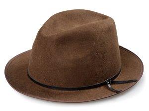 Chapéu Fedora Marrom 100% Lã Aba 4cm Couro Marrom V Premium Hats