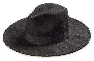 Chapéu Fedora Preto Aba Grande 9cm