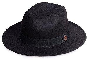 Chapéu Fedora Preto Aba Reta Faixa Preta Clássico 7cm