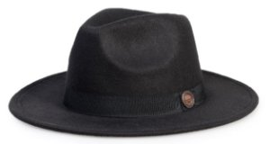 Chapéu Fedora Preto Aba Reta 7cm Faixa Preta Clássico