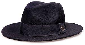 Chapéu Fedora Preto Aba 7 cm 100% lã Super Macio