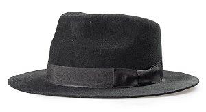 Chapéu Fedora Preto 100% Lã Aba Reta 6cm Premium Hats Laço
