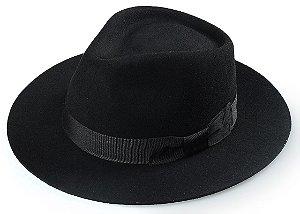Chapéu Fedora Preto 100% Lã Aba Reta 6,5 cm Premium Hats Laço