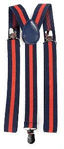 Suspensório Adulto Clássico Azul Marinho e Vermelho Couro Azul 2,5cm
