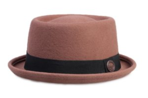 Chapéu Pork Pie Caramelo 100% Lã Aba 4cm Premium Hats