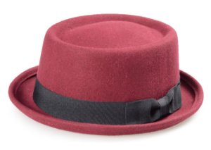 Chapéu Pork Pie Vinho 100% Lã Aba Curva 4cm Faixa Laço Premium Hats