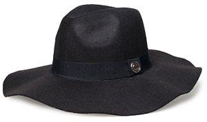 Chapéu Fedora Preto Aba Maléavel 10cm Faixa Preta