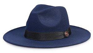 Chapéu Fedora Azul Marinho Aba Média Reta