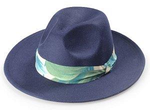 Chapéu Fedora Azul Aba Média Reta Coleção Flower