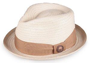 Chapéu Fedora Palha Bege Aba Curva 4cm