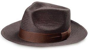 Chapéu Fedora Palha Marrom Aba Reta Média 7cm