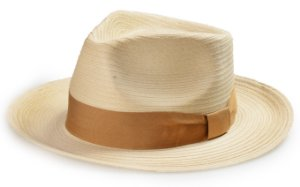 Chapéu Fedora Palha Creme Aba Reta Média 7cm