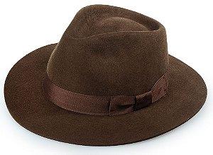 Chapéu Fedora Marrom 100% Lã Aba Reta 6,5 cm Premium Hats Laço