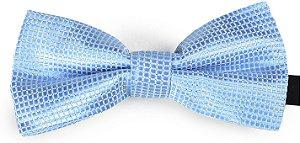 Gravata Borboleta Estampada Azul Bebê pontos prata