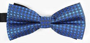 Gravata Borboleta Estampada Azul Marinho Detalhes Preto