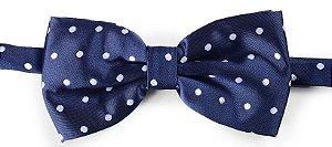 Gravata Borboleta Estampada Azul Marinho bolinhas brancas
