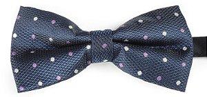 Gravata Borboleta Estampada Azul Marinho bolinhas brancas e Lilás