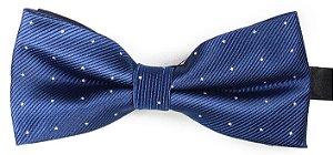Gravata Borboleta Estampada Azul Marinho Pontos Prata