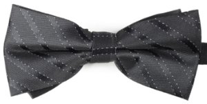 Gravata Borboleta Estampada Preta Detalhes Diagonal