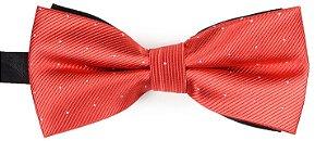 Gravata Borboleta Estampada Vermelha Pontos Prata