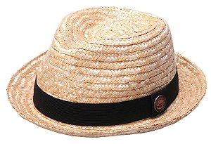 Chapéu Fedora Palha de Trigo Aba Curta Curva 4,5 cm