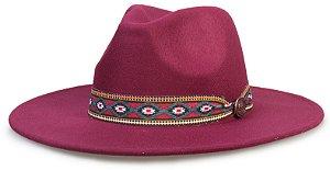 Chapéu Fedora Vinho Faixa Incas Aba Reta 8cm