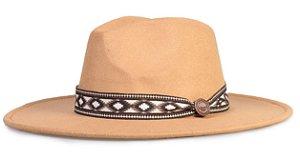 Chapéu Fedora Bege II Faixa Incas Aba Reta 8cm