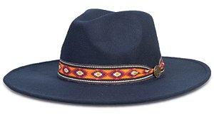 Chapéu Fedora Azul Marinho Faixa Incas Aba Média Reta 8cm