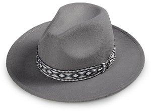 Chapéu Fedora Cinza Faixa Incas Aba Reta 7cm