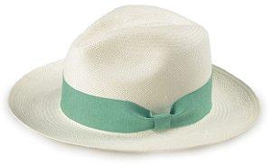 Chapéu Panamá Aba Média Faixa Verde -Água