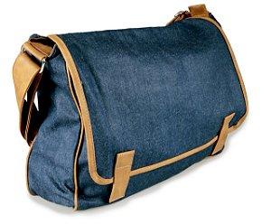Bolsa Jeans Pasta Azul Escuro e Bege