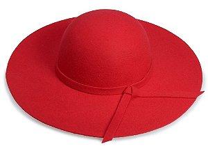 Chapéu Floppy Aba Grande Vermelho 100% Lã