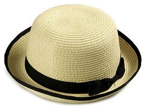 06162c4f87e43 Chapéu Coco Palha Bege Aba média 6 cm Laço