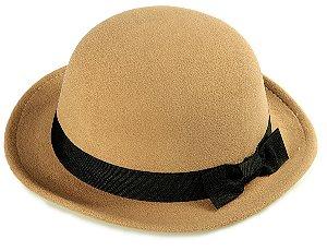 Chapéu Coco Bege Aba Curta 4 cm Laço