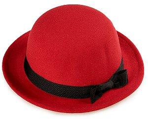 Chapéu Coco Vermelho Aba Curta 4 cm Laço