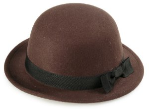 Chapéu Coco Marrom Aba Curta 4 cm Laço