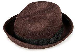 Chapéu Fedora Marrom Aba Curvada 5 cm Laço Duplo