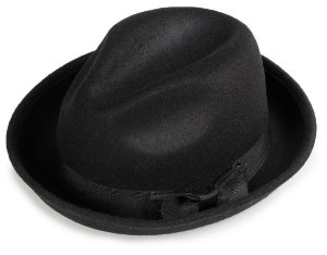 Chapéu Fedora Preto Aba Curvada 5 cm Laço Duplo