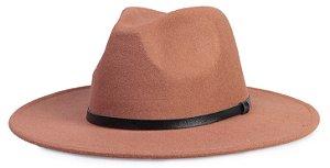 Chapéu Fedora Caramelo Aba 8cm Couro Preto