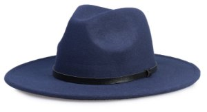 Chapéu Fedora Azul Marinho Aba Média 8cm Couro Preto